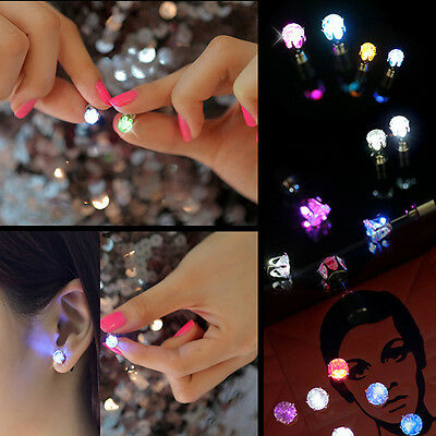9 Pair Unisex Light Up LED Bling Ear Studs Earrings Accessories For Party/Xmas