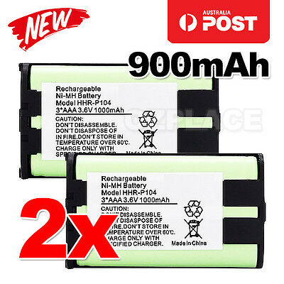 Premium J 2x Cordless Phone Battery 900mAh for Panasonic HHR-P104 Ni-MH 3.6V