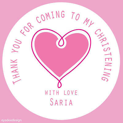 35x Personalised Pink Heart Christening Thank You Envelope Baby Stickers -314