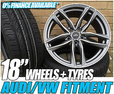 """18"""" Audi A4 Rs6 Style Gunmetal & Polished Alloy Wheels & Tyres"""