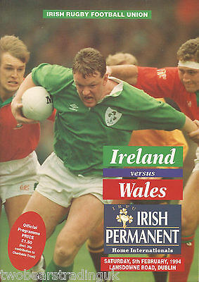 IRELAND v WALES (Rugby Union Five Nations 5.2.1994) Programme