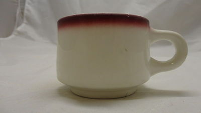 SET OF 3 BEST CHINA HOMER LAUGHLIN COFFEE CUPS RESTAURANT WARE ? RED / PINK RIM