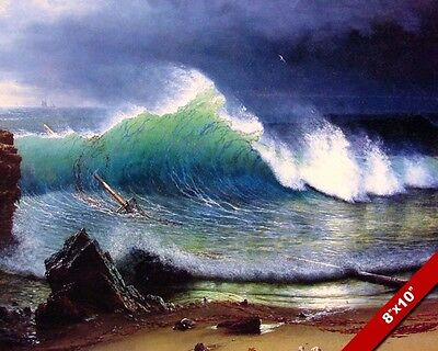 Broken Mast Among The Waves Ocean Wave Oil Painting Art Real Canvas Giclee Print