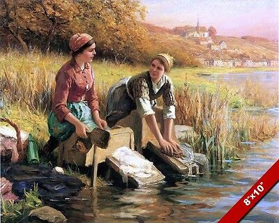 Women Washing Clothes In The River Oil Painting Art Real Canvas Giclee Print