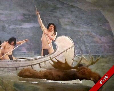 Native American Indian Canoe Moose Hunt Oil Painting Art Real Canvas Print