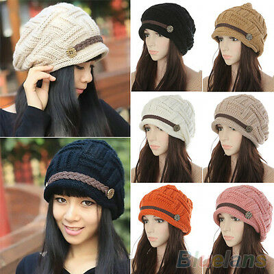 Women's New Fashion Braided Winter Warm Baggy Beanie Knit Crochet Ski Hat Cap