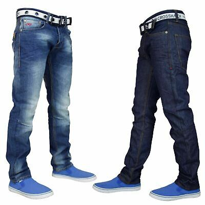 Crosshatch Mens Denim Jeans Regular Straight Leg Cotton Trousers Pants Free Belt
