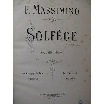 MASSIMINO F. Solfège Chant Piano ca1880  Partition Sheet Music Spartiti Partitur