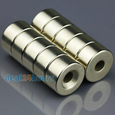 10pcs Disc Ring Round Rare Earth Neodymium N50 Magnets 20mm x 10mm Hole 5mm