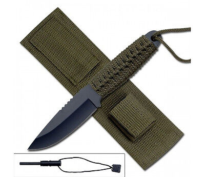 "8"" COMBAT TACTICAL HUNTING FIXED BLADE KNIFE w/ FIRE STARTER Throwing Survival"