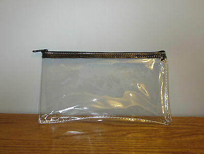 1 Clear Vinyl Zipper Wallet Bank Bag Money Jewelry Pouch Coin Currency Coupons