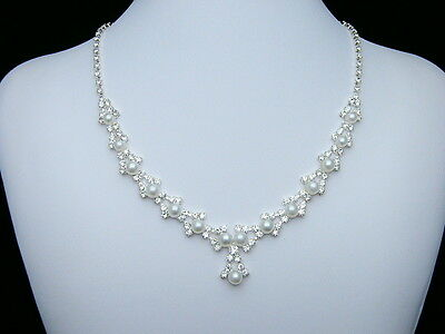 Bridal Wedding Rhinestone Crystal Pearls Necklace Earrings Set N103