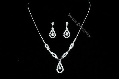Bridal Wedding Jewelry Bridesmaid Rhinestone Crystal Necklace Earrings Set N252