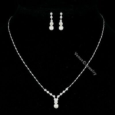 Bridal Bridesmaid Wedding Rhinestone Crystal Pearl Necklace Earrings Set N306