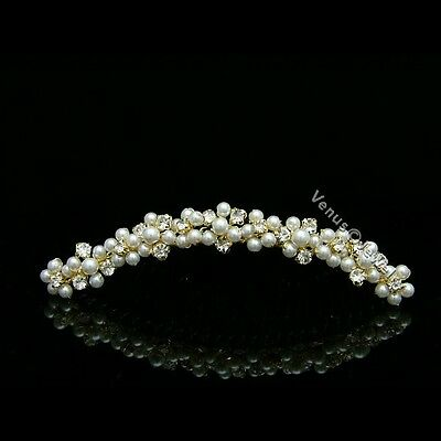 Gold Bridal Flower Pearl Rhinestone Crystal Prom Wedding Tiara Hair Comb 7588