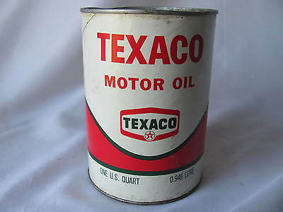 Vintage 1970 Texaco Motor Oil Quart Can Full Cardboard