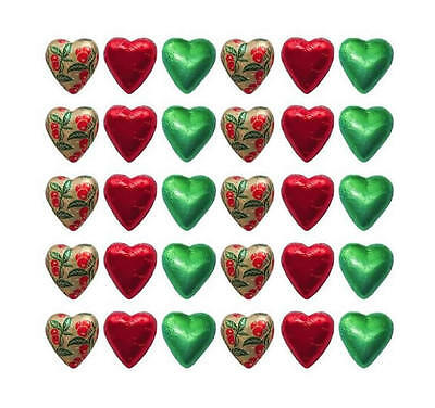 100 Red Green And Gold Mistletoe Milk Chocolate Hearts - Christmas Gifts Parties