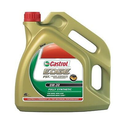 Castrol Edge SAE 0W30 Fully Synthetic Engine Oil 4L VW Merc & Longlife 4 Litres