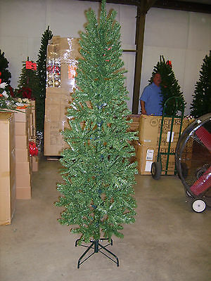 7.5 FOOT PENCIL SLIM PINE CHRISTMAS TREE BRAND  7 1/2 ft. tall GREEN WITH STAND