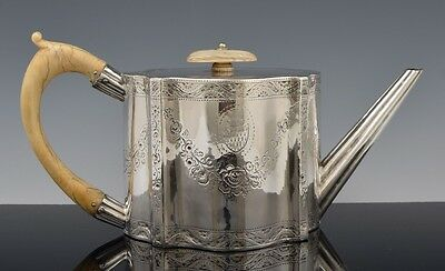 Antique 1779 STERLING SILVER GEORGE III TEAPOT FOWLER ARMORIAL CREST Owl Coat NR