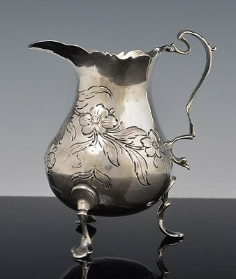 Anntique 1764 English George III STERLING SILVER London CREAMER w FLOWERS NR