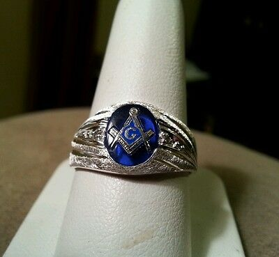 Blue masonic ring size 10 sterling silver