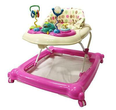 Br New Sturdy Musical Beautiful Baby Walker Activity Play Centre and Toys Pink