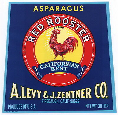 RED ROOSTER Vintage Asparagus Crate Label Chicken Chick, Fowl, AN ORIGINAL LABEL