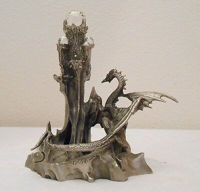 Pewter Dragon with Crystals/Gems on Pewter Castle on Base Figure/Figurine