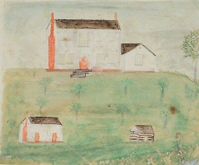 ANTIQUE FOLK ART PAINTING PRIMITIVE NEW ENGLAND 19TH CENTURY CHILDS WATERCOLOR