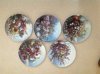 """CLASSIC ROSE COLLECTION (5) PLATES. 9"""""""