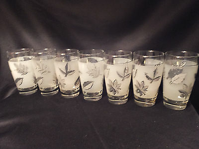 """Lot of 4 Silver Leaf Frosted Libbey Juice Glasses~4.5 oz.~4"""" Tall"""