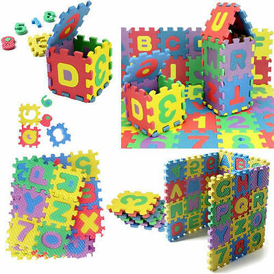 36pcs Children Mini Puzzle Kid Educational Alphabet Letters Numeral Foam Mat Toy