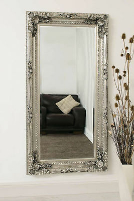Large Silver Antique Style Wall Mirror New Rectangle 5Ft 9 X 3Ft 175cm X 90cm