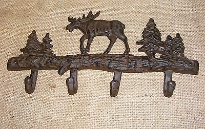 Moose Wall Hook Cast Iron Key or Hat Rack Hunting Cabin Home Decor 4 hooks #122