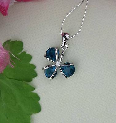NICE 1pcs  925 Silver Light Blue Crystal Clover Pendant for Necklace