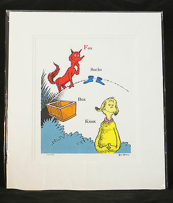 Dr. Seuss Limited Edition Lithograph Fox Socks Box Knox Matted