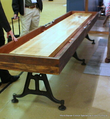 "144"" L Shuffleboard Industrial Parlor Sport  Game Iron Base Reclaimed Hardwood"