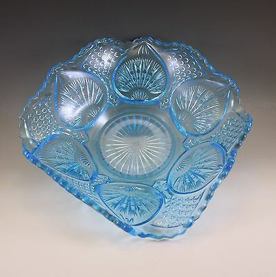 EARLY PRESSED GLASS, EAPG 1910 McKEE BROS BLUE PLYTEC SQUARE BOWL RADIANT PETAL