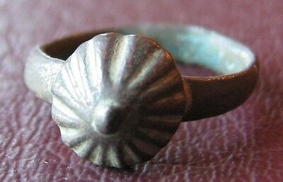 Ancient Artifact   Roman Bronze Pyramid RING Sz: 2 US 13.25mm 11559