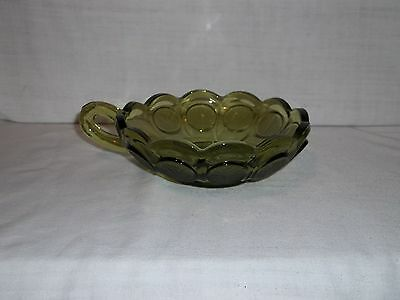 """Fostoria Olive Green Coin Glass - NAPPY BOWL- Vintage - 5 1/4"""""""