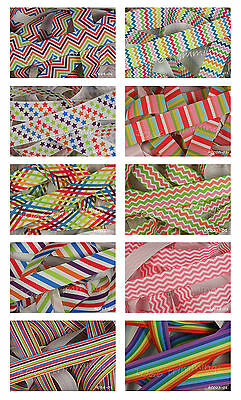 Reel Chic Grosgrain Ribbon Collection 22mm Choice of 10 Designs Bright Colours