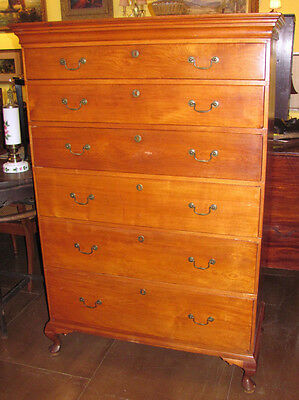 Antique American Queen Anne Maple Tall Chest of Drawers Circa 1770