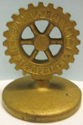 Unusual Old Cast Iron Gear Shaped Paperweight Reading Pa Rotary Club 1940s-1950s
