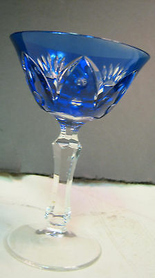 "VTG Bohemian CUT COLORED CRYSTAL STEM WINE GLASS BLUE 4.5"" SUNBURST GORGEOUS"
