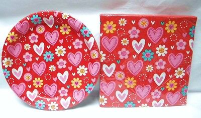 Valentines Day or Birthday Paper Plates & Napkins Valentine Sweets Red Hearts