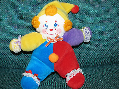 "6"" Russ Berrie Coco Clown Plush Baby Primary Bright Colors Red Blue"