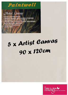 "5pcs Paintwell Artist Stretched Canvas 36x48"" Heavy Duty 38mm Thick - SCS-3648B"