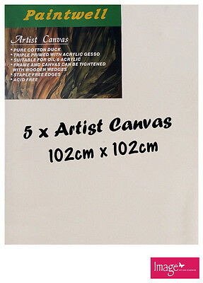 "5pcs Paintwell Artist Stretched Canvas 40x40"" Heavy Duty 38mm Thick - SCS-4040B"