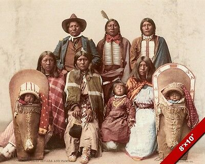 UTE INDIAN CHEIF & Family Native American Color Photograph Art Real Canvas  Print